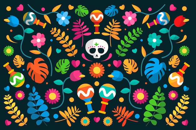 Mexican background with flowers and skull