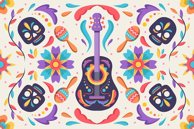 Mexican background with skulls and guitar