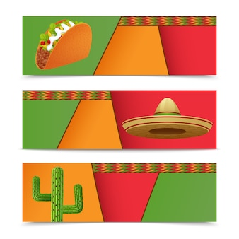 Mexican banners horizontal set with taco sombrero cactus isolated vector illustration