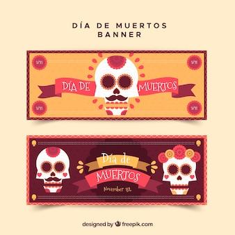 頭蓋骨とリボンのメキシコの旗