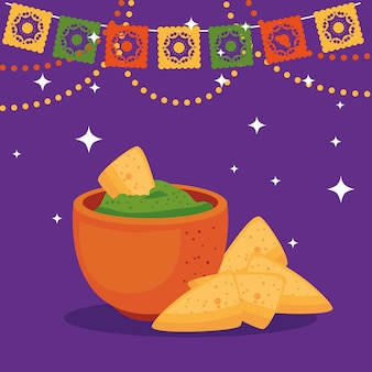 Mexican bowl with nachos, cinco de mayo celebration