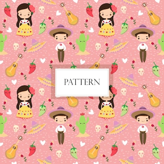 Mexican boy and girl seamless pattern
