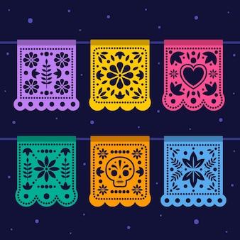 다른 색상의 멕시코 깃발 천 컬렉션