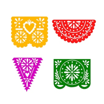 Mexican bunting colorful set