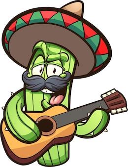 Мексиканский кактус играет на гитаре мультфильм