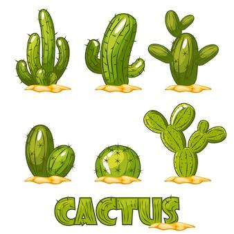 メキシコサボテンセット、漫画メキシコ砂漠のサボテンの植物の面白い