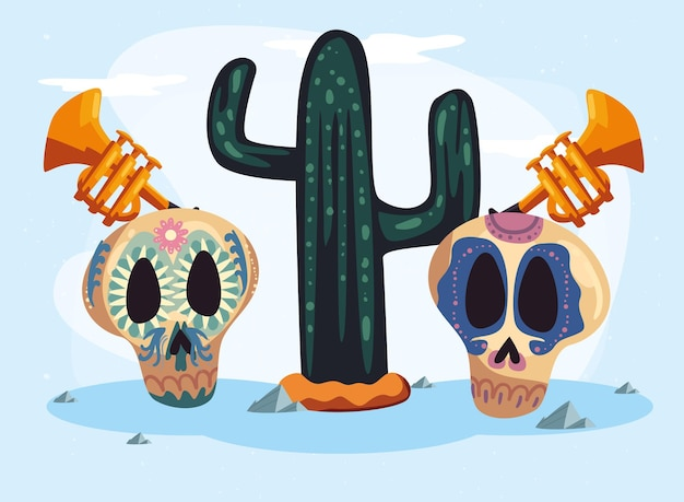 Mexican cactus and skulls