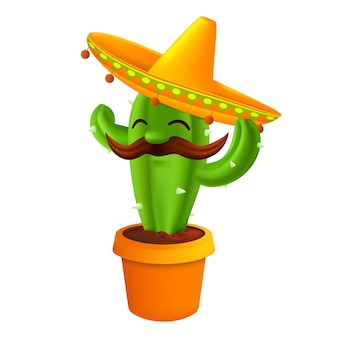 Mexican cactus with mustaches in a sombrero hat. funny cartoon character  illustration for 5th of may cinco de mayo holiday