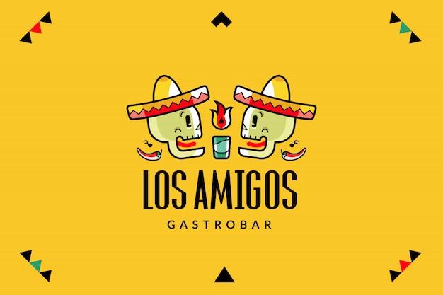 Логотип мексиканского кафе с черепами в шляпах сомбреро