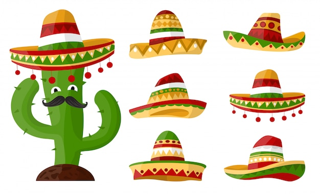 Mexican cartoon cactus with set of sombreros