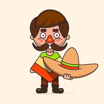 멕시코 만화 남자, 디자인, 인사말 카드, 배너에 대 한 준비. 벡터 일러스트 레이 션