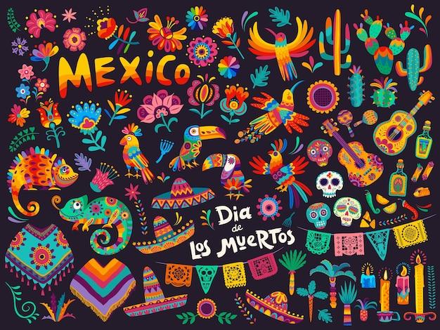 Mexican cartoon symbols of dia de los muertos or day of dead holiday