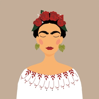 Mexican cartoon woman with floral wreath in hair