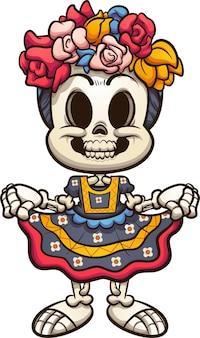 オアハカの典型的なドレスを着たメキシコのカトリーナスケルトン