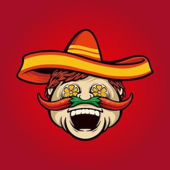 メキシコのシェフが唐辛子のイラストがソンブレロを調理 Premiumベクター