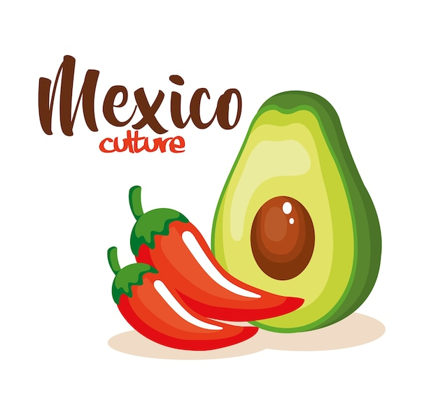 Mexican chili pepper with avocado