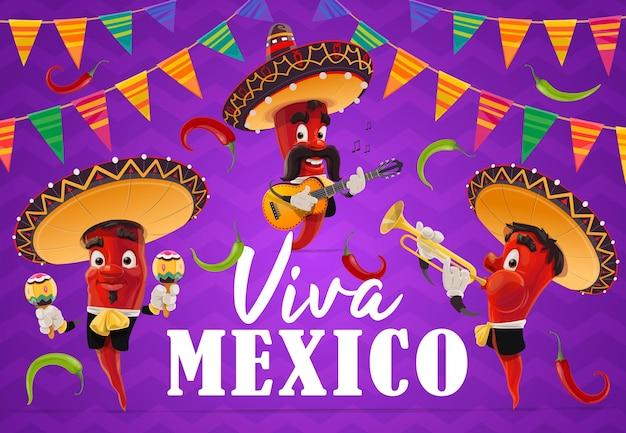 비바 멕시코 휴가의 멕시코 고추 고추 음악가 캐릭터. 멕시코 솜브레로 모자, 마라카스, 기타 및 트럼펫, 할라피뇨 및 축제 멧새 깃발 화환이있는 만화 빨강 칠리 마리아치