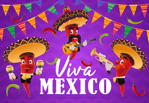 Mexican chilli pepper musician characters of viva mexico holiday. cartoon red chili mariachi with mexican sombrero hats, maracas, guitar and trumpet, jalapenos and festive bunting flag garlands