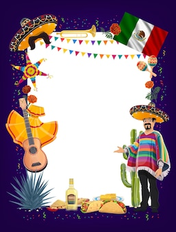 Mexican cinco de mayo fiesta party signboard with frame of mariachi, sombreros, maracas and guitar, cactus, pinata, mexico flag and tequila, taco, burrito and nacho. viva mexico greeting card