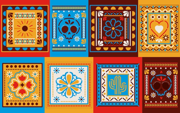 Mexican colored frames set design, mexico culture tourism theme