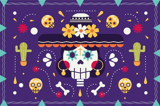 Mexican colorful flat background
