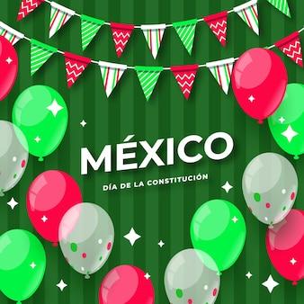 フラットデザインのメキシコ憲法記念日イベント