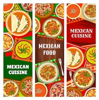 멕시코 요리와 멕시코 음식 배너, 전통 요리와 식사, 벡터 레스토랑 메뉴. 멕시코 정통 음식과 국민 생선 타코 샐러드, 쇠고기 파히타, 칠리 콘 카르네, 돼지고기 에스토파도