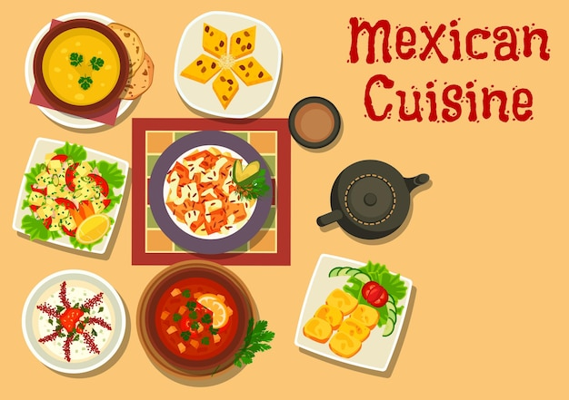 Mexican cuisine authentic dishes of chilli salsa bean soup