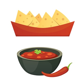 Mexican cuisine cartoon dishes illustration set.