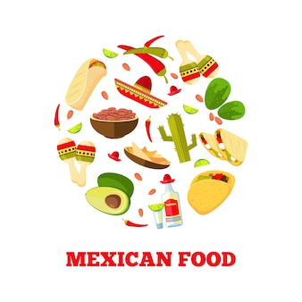 Mexican cuisine cartoon vegetables, food and drinks