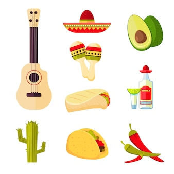 Mexican cuisine cartoon vegetables