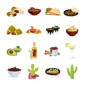 Mexican cuisine dishes snacks and drinks flat icons set