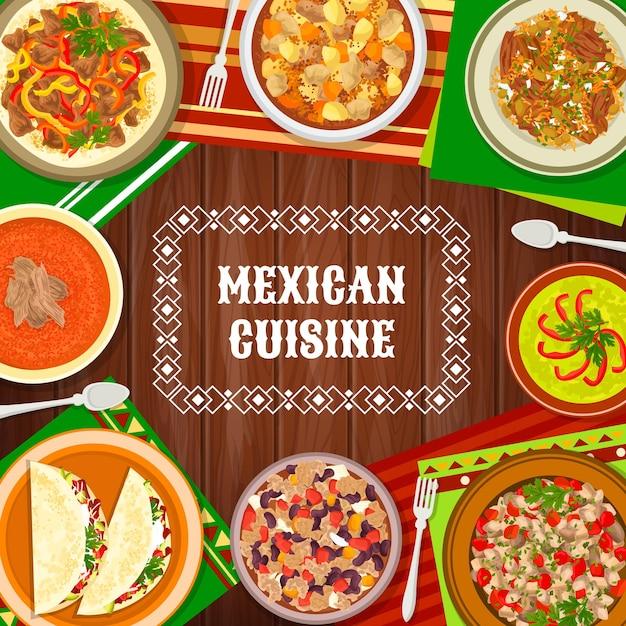 Блюда мексиканской кухни, покрытие меню блюд мексики, векторный традиционный ресторан на ужин и обед. тако мексиканской кухни и авокадо, тарелки изысканных национальных блюд латиноамериканской кухни на столе