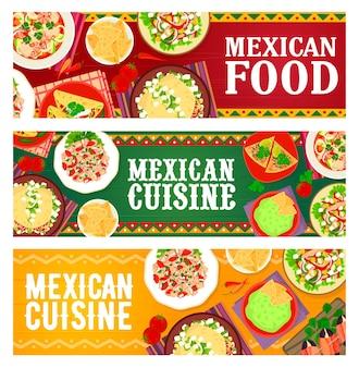 멕시코 요리 식사, 레스토랑 요리 배너. 고기 후추, 야채, 초리조 타코 샐러드, 해산물, 연어 세비체, 쇠고기 또띠야, 과카몰리 나초, 베이컨으로 감싼 날짜 벡터가 있는 타파스