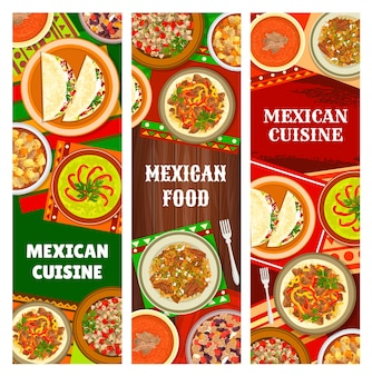 Mexican cuisine and mexico food banners, traditional dishes and meals, vector restaurant menu. mexican authentic food and national fishes taco salad, beef fajitas, chili con carne and pork estofado