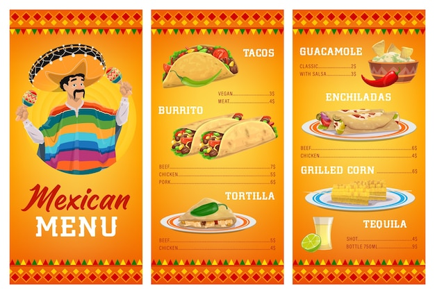 Mexican cuisine restaurant menu template with food and drink.