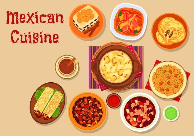 콩 부리또를 사용한 멕시코 요리 레스토랑 메뉴