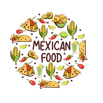 Mexican cuisine. a set of popular mexican dishes. fast food.