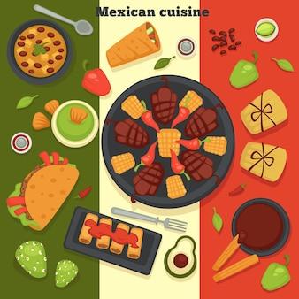 メキシコ料理のタコスと唐辛子と唐辛子のロースト肉は、さまざまな新鮮な食材を使った生鮮食品をベクトルしますアボカドとハーブブリトーナチョ料理とカトラリーはメキシコからの食事を提供しました