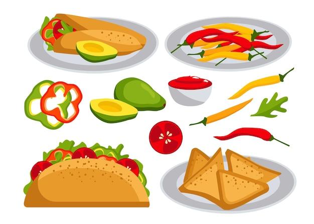 メキシコ料理。タコス、ブリトー、アボカド、コショウ、トマト、ナチョス、ソース。フラットスタイルのイラスト