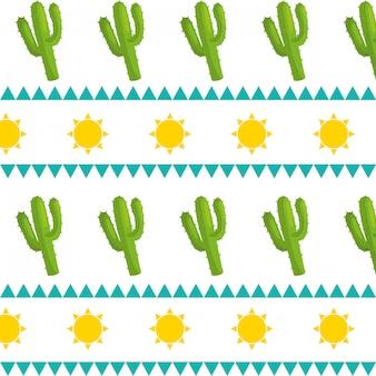 멕시코 문화 선인장 패턴