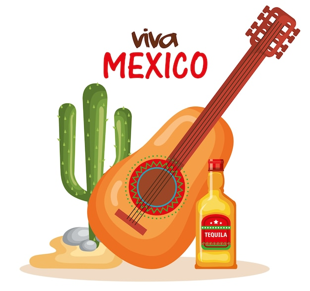 Mexican culture cactus with guitar and tequila