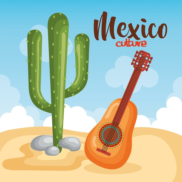 Mexican culture cactus with guitar