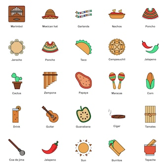 Установить мексиканской культуры цвет иконки. фестиваль синко де майо
