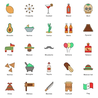 Mexican culture color icons set. cinco de mayo festival