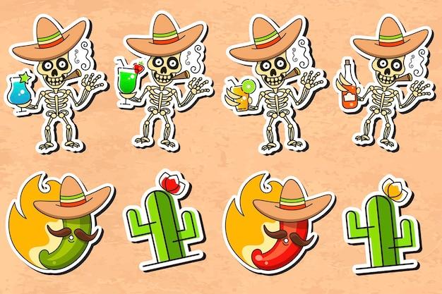 Мексиканская культура стикер векторные иллюстрации на старинном фоне