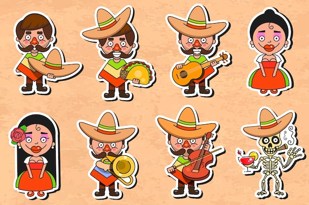 Mexican culture sticker vector illustration on vintage background