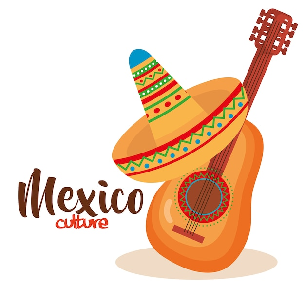 Mexican culture traditional hat and guitar