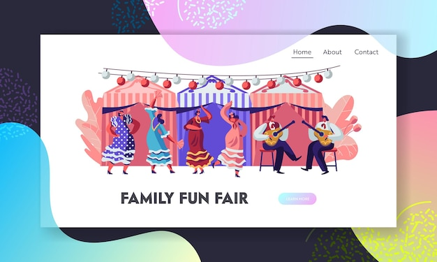 Mexican dancers and guitar players at cinco de mayo festival. latin music folk celebration. website landing page template
