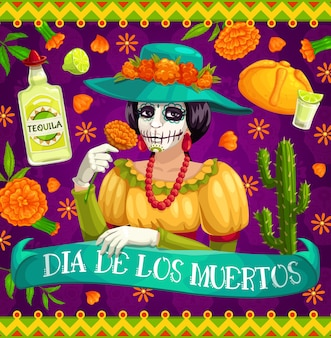 Mexican day of the dead catrina skeleton with flowers,  dia de los muertos. mexico religion holiday calavera with marigolds, cactuses, tequila and limes, bread and fiesta party flamenco costume